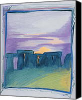Ruins Drawings Canvas Prints - Stonehenge blue by jrr Canvas Print by First Star Art