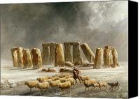 Overcast Painting Canvas Prints - Stonehenge in Winter  Canvas Print by Walter Williams