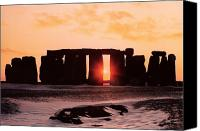 Prehistoric Canvas Prints - Stonehenge Winter Solstice Canvas Print by English School 