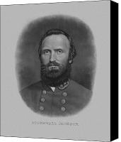 Rebel Mixed Media Canvas Prints - Stonewall Jackson Canvas Print by War Is Hell Store