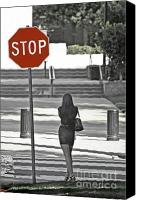 Crosswalk Digital Art Canvas Prints - Stop... Look Both Ways Canvas Print by Mark Hendrickson
