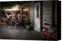 Vendor Canvas Prints - Storefront - Frenchtown NJ - At a quaint Bistro  Canvas Print by Mike Savad