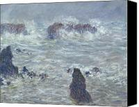 Storm Painting Canvas Prints - Storm off the Coast of Belle Ile Canvas Print by Claude Monet