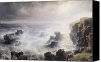 Storm Painting Canvas Prints - Storm off the Coast of Belle Ile Canvas Print by Jean Antoine Theodore Gudin