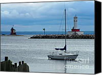 Lake Michigan Canvas Prints - Storm Over Mackinac Canvas Print by Pamela Baker