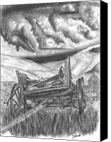 Storm Drawings Canvas Prints - Storm over Wagon Canvas Print by Russ  Smith