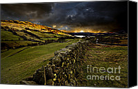 Stone Wall Canvas Prints - Storm Over Windermere Canvas Print by Meirion Matthias