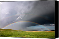 Storm Photo Canvas Prints - Storm Rainbow Prairie Canvas Print by Ryan McGinnis