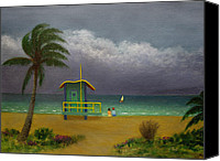 Tropical Beach Painting Canvas Prints - Storm Watchers Canvas Print by Gordon Beck