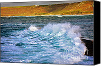 Sennen Cove Canvas Prints - Storm wave Canvas Print by Louise Heusinkveld