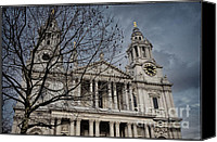 Christopher Wren Canvas Prints - Storms over St Pauls Canvas Print by Joan Carroll