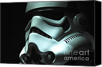Wars Canvas Prints - Stormtrooper Helmet Canvas Print by Micah May