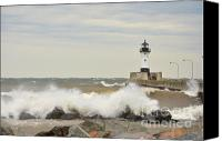 Lighthouse Pyrography Canvas Prints - Stormy  Canvas Print by Whispering Feather Gallery