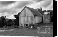 White Barns Canvas Prints - Stormy Barn Canvas Print by Perry Webster