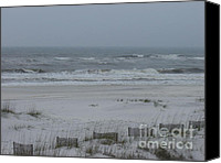 Sand Fences Canvas Prints - Stormy Beach Canvas Print by Craig Keller