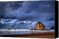 Etc. Canvas Prints - Stormy Clouds in Cannon Beach Canvas Print by Niels Nielsen