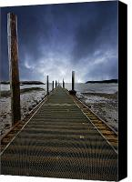 Mud Canvas Prints - Stormy Jetty Canvas Print by Meirion Matthias