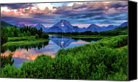 Grand Teton Canvas Prints - Stormy Morning In Jackson Hole Canvas Print by Jeff R Clow