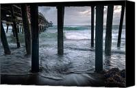 San Clemente Canvas Prints - Stormy Pier Canvas Print by Gary Zuercher