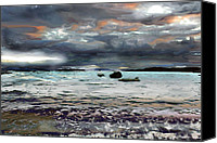 Angry Sky Canvas Prints - Stormy Sea Canvas Print by Janet Kearns