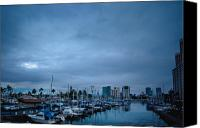 Honolulu Photo Canvas Prints - Stormy Skies Over Boat Harbor at Night, Honolulu, Hawaii Canvas Print by Inti St. Clair
