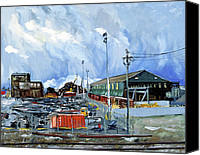 Storm Prints Canvas Prints - Stormy Sky Over Shipyard and Steel Mill Canvas Print by Asha Carolyn Young