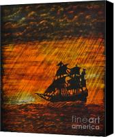 Sunset Glass Art Canvas Prints - Stormy Sunset Canvas Print by Valerie Lynn