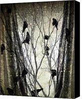 Trees Digital Art Canvas Prints - Stormy Winter Window Canvas Print by Gothicolors With Crows