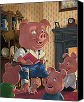 Telling Canvas Prints - Story Telling Pig With Family Canvas Print by Martin Davey