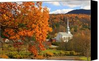 Vermont Autumn Foliage Canvas Prints - Stowe Vermont in Autumn Canvas Print by John Burk