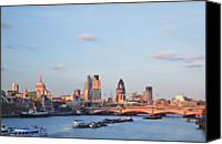 Arch Bridge Canvas Prints - St.pauls Cathedral And City Of London Canvas Print by Kokoroimages.com
