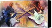 Guitar Painting Canvas Prints - Strat Brothers Canvas Print by Andrew King