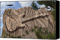 Fender Digital Art Canvas Prints - Strat O Caster Park 2 Canvas Print by Mike McGlothlen