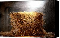 Feed Canvas Prints - Straw Bale in Old Barn Canvas Print by Olivier Le Queinec