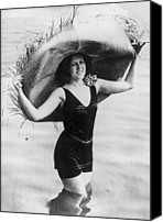 Woman In Water Photo Canvas Prints - Straw Hat Canvas Print by General Photographic Agency