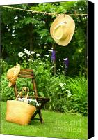 Breeze Canvas Prints - Straw hat hanging on clothesline Canvas Print by Sandra Cunningham