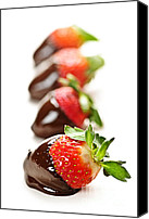 Strawberry Canvas Prints - Strawberries dipped in chocolate Canvas Print by Elena Elisseeva