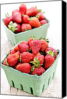 Basket Photo Canvas Prints - Strawberries Canvas Print by Elena Elisseeva