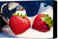 Still Life Photo Canvas Prints - STRAWBERRIES IN CREAM close-up food still-life of berries for breakfast or dessert Canvas Print by Andy Smy