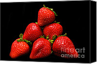 Berry Canvas Prints - Strawberries On Velvet Canvas Print by Andee Photography