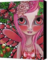 Teen Painting Canvas Prints - Strawberry Butterfly Fairy Canvas Print by Jaz Higgins