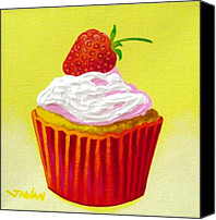 Cupcake Canvas Canvas Prints - Strawberry Cupcake Canvas Print by John  Nolan