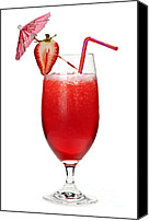 Decorated Canvas Prints - Strawberry daiquiri Canvas Print by Elena Elisseeva