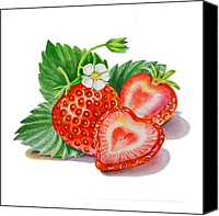 Family Room Canvas Prints - Strawberry Heart Canvas Print by Irina Sztukowski