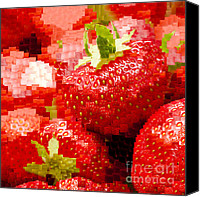 Digital Art Composite Canvas Prints - Strawberry Mosaic Canvas Print by Anne Gilbert