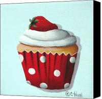 Red And White Canvas Prints - Strawberry Shortcake Cupcake Canvas Print by Catherine Holman