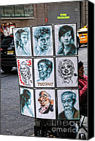 Caricature Mixed Media Canvas Prints - Street Art NYC Canvas Print by Edward Sobuta