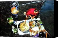 Vendor Painting Canvas Prints - Street Food Vendor in Bangkok Canvas Print by V  Reyes