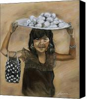 Young Pastels Canvas Prints - Street Girl Merchant Canvas Print by Leonor Thornton