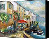 Contry Canvas Prints - Street in Italy bt the Sea Canvas Print by Gina Femrite